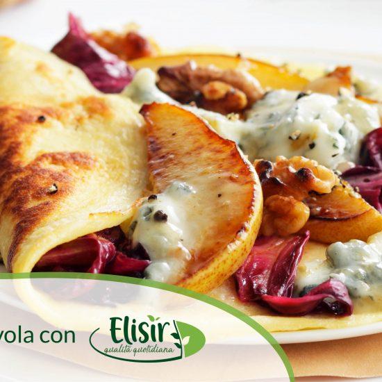 Crêpes radicchio, gorgonzola, pere e noci